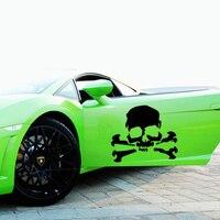 רכב חם למכירה Stying 2 x גולגולת פיראט עצמות צלב דלת משאית מדבקה לרכב ויניל מדבקות Jdm