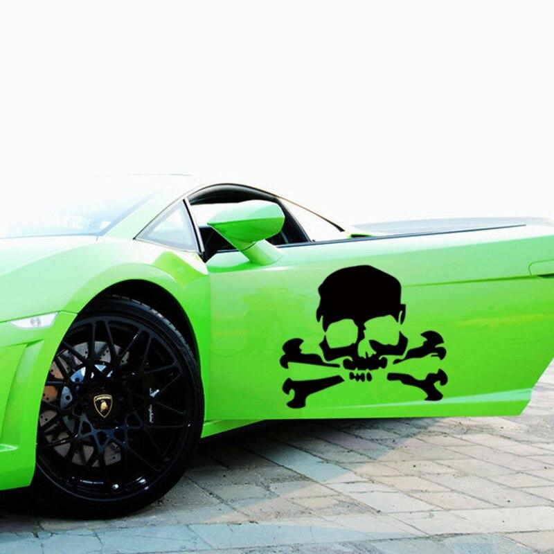 Offre spéciale Stying de voiture 2 x crâne croix os Pirate voiture autocollant camion porte vinyle décalque Jdm
