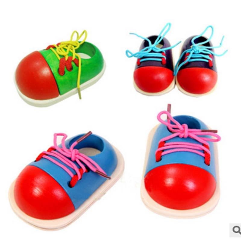 4pcs Kids Montessori Educational Toys Children Wooden Toys Toddler Lacing Shoe Tie shoes Early Education Montessori Teaching Aid montessori jouet bois
