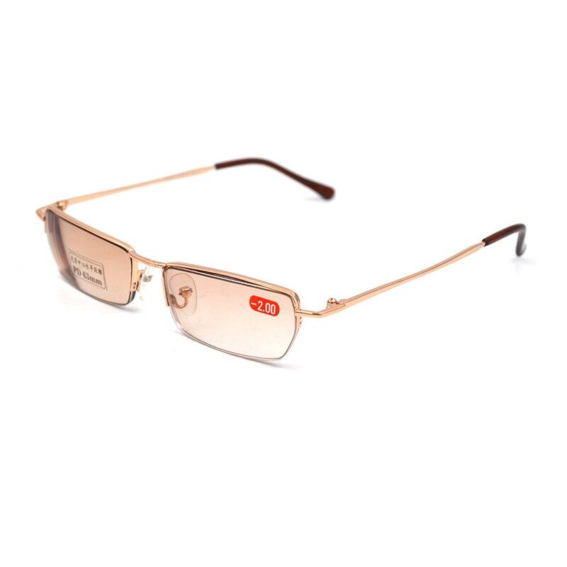 2019 Myopia Sunglasses Metal Square Semirim Spectacles Nearsighted Shorted Sighted Optical Prescription Glasses Gradient Tea L3