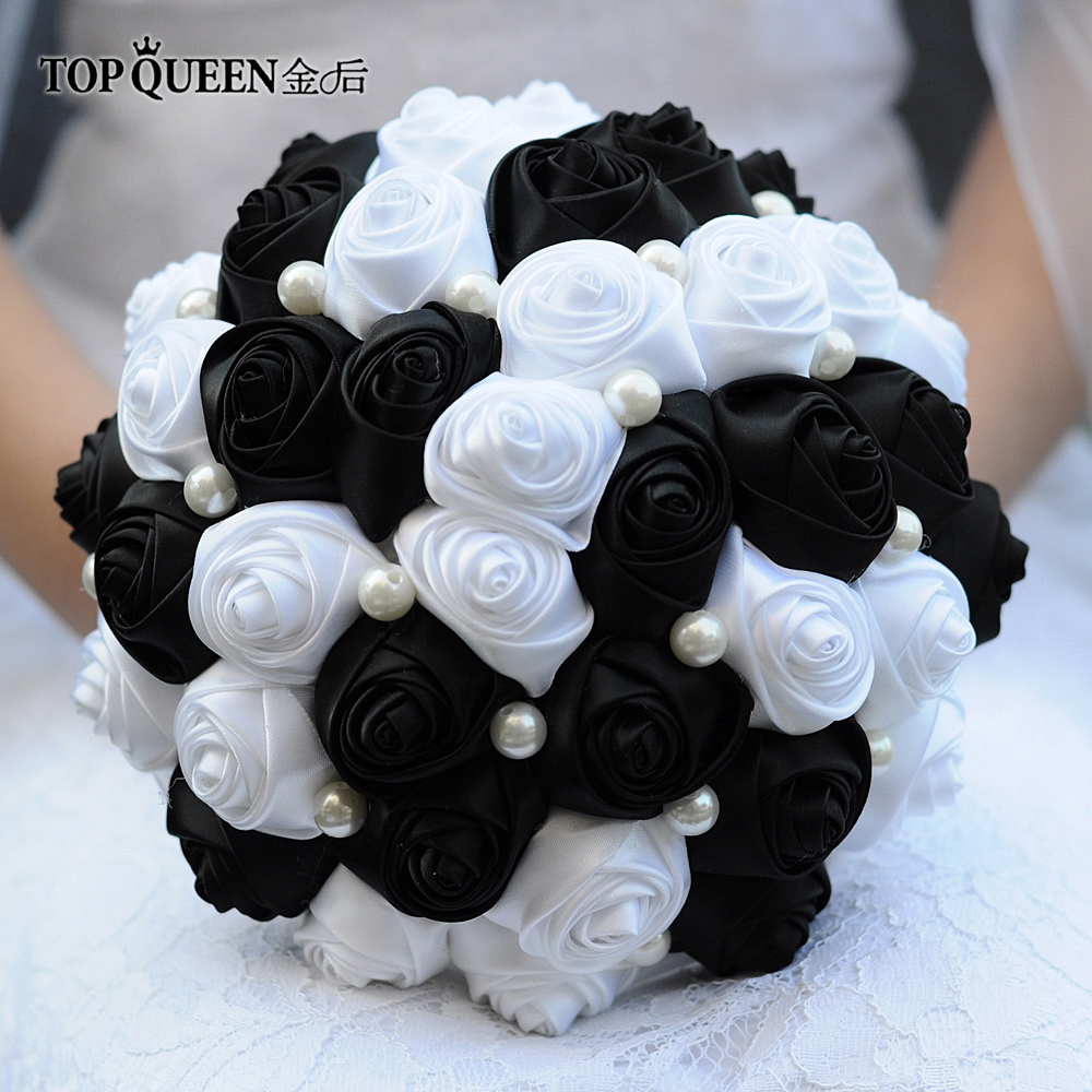 TOPQUEEN F4-BK Free Shipping Bridal Bouquet With Brooch Bouquets For The Bride Artificial Flowers Bouquet Wedding Bride Bouquet