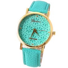 NEW Geneva Retro Pu Leather-based Watch Retro Golden Hallowed Flowers Wristwatch Style Watch Quartz Watch Girl Watch eight Colours