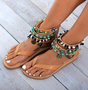 Image 2 - Ankle Wrap Cover Heel Women Gladiator Flat Sandals  Leisure Rome Summer Beach Sandals Solid Chain  Rome Shoes