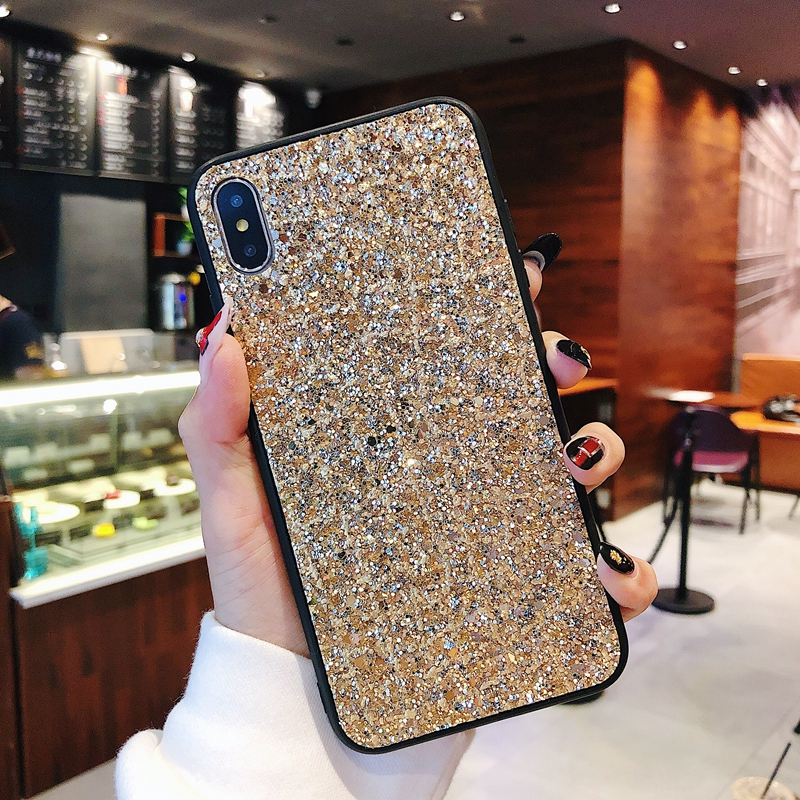 For iphone 7 8 Plus 6 6S Coque Silicone Gold Bling Glitter Crystal Sequins Phone Case For iphone X XR XS Max Soft TPU Back Cover in Fitted Cases from Cellphones Telecommunications