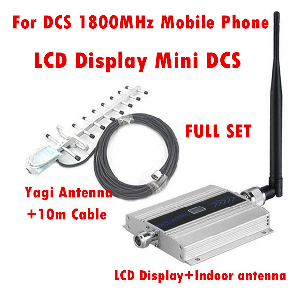 1Set Family LCD GSM DCS 1800MHz Mobile Phone Signal Booster Repeater Amplifier with Indoor antenna+Yagi Antenna+10M Cable1Set Family LCD GSM DCS 1800MHz Mobile Phone Signal Booster Repeater Amplifier with Indoor antenna+Yagi Antenna+10M Cable