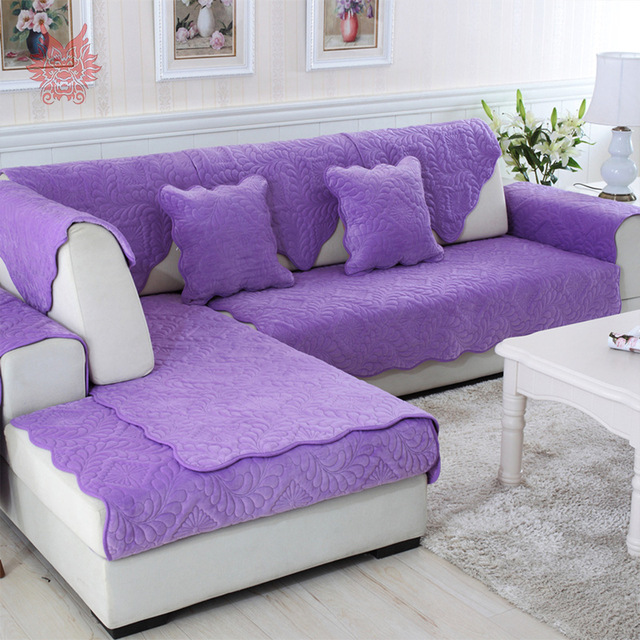 Elegant Purple Floral Quilted Plush Sofa Cover Sectional Slipcovers  Anti Slip Canape Furniture Covers Free