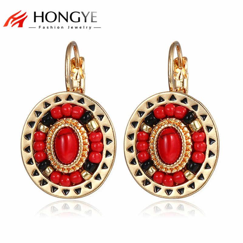 新ファッションエスニッククリップイヤリング女性色赤黒樹脂石ビーズカフ耳ボヘミアイヤリングクリップ Mujer