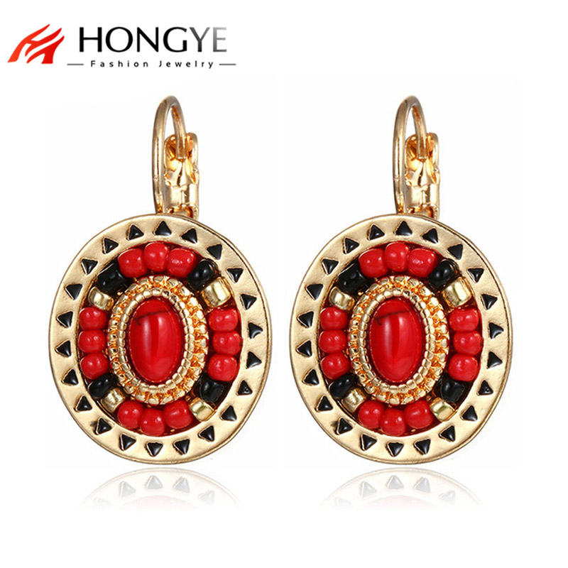 New Fashion Etnis Anting Klip Wanita Emas-Warna Merah Hitam Resin Batu Beads Cuff Ear Anting Klip Bohemia
