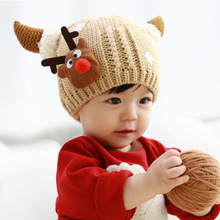 Knitted Baby Hat Cartoon Label Deer Animal Hats for Kids Solid Christmas Baby Girl Winter Hat Warm Toddler Hat