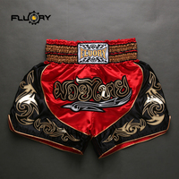 red and black patchwork muay thai shorts Fluory new release boxing shorts