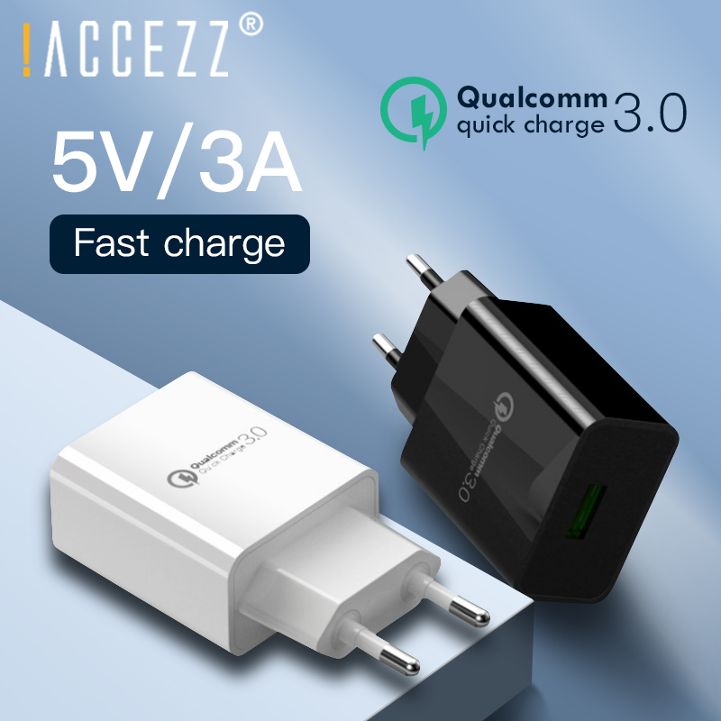 !ACCEZZ QC3.0 Fast <font><b>USB</b></font> Charger <font><b>5V</b></font> 3A Quick Charge For iPhone Xiaomi Samsung S10 Huawei P20 P30 Mobile Phone EU Plug Wall Charger image