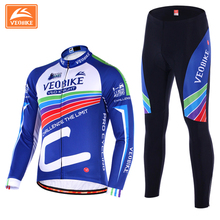 VEOBIKE 2017 Team Pro Winter Cycling Wear Suit Warmer-Keep Long Sleeve Bicycling Jersey Thermal Bicycle Jacket Bibs Pants Set