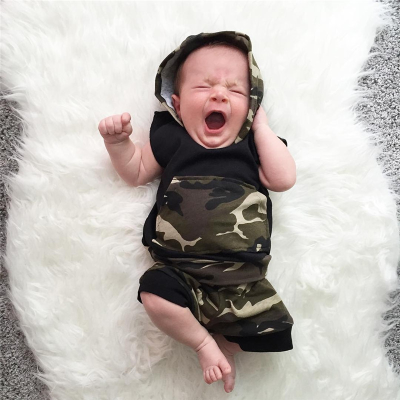 02f1cac6d439 Newborn Infant Baby Boy Girl Clothes Cool Design Camouflage Hooded ...
