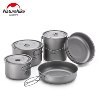 Naturehike Outdoor Titanium Pot Frying Pan Ultralight Camping Hiking Picnic Tableware Set with Folding Handle