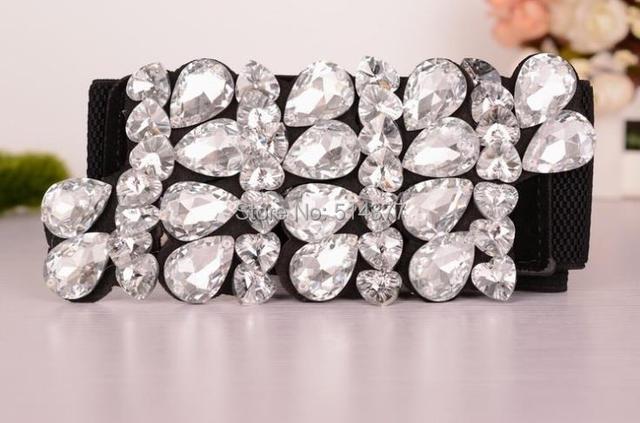 Mulheres Cintos de Strass cristal, decoração Designer de retro selvagem elástico Cinto Largo Elástico