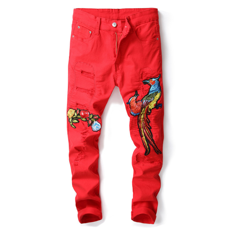 Skinny Men Jeans Brand Casual Denim Pants Red Color Phoenix Design Stretch Slim fit Jeans Ripped Mens Distressed Trousers Man
