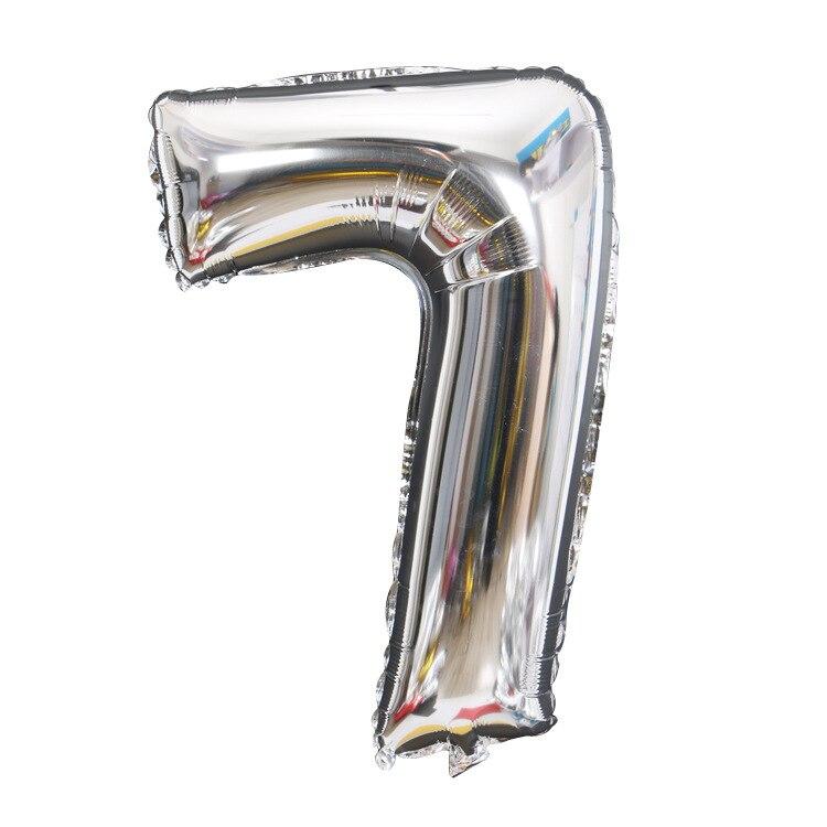 Золотой Серебряный 32 дюйма 0-9 большой гелиевый цифровой воздушный шар фольги Детский праздник день рождения вечеринка для детей мультфильм шляпа игрушки - Цвет: sliver 7
