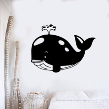 Big Whale Blowing Water Wall Sticker Bathroom Decor Die-Cut Vinyl Decal Removable Sea Animal Mural AY1369