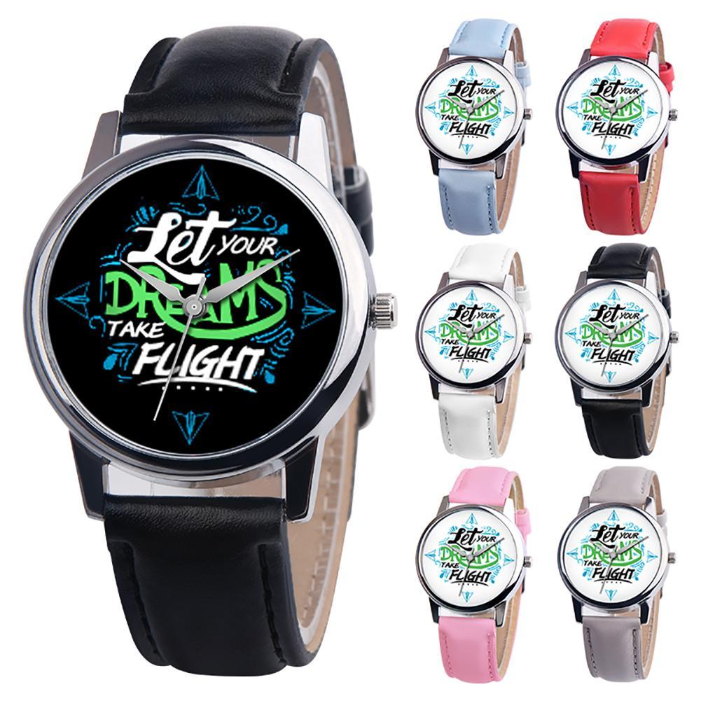 Let Your Dreams Take Flight Letter Dial Faux Leather Band Quartz Wrist Watch