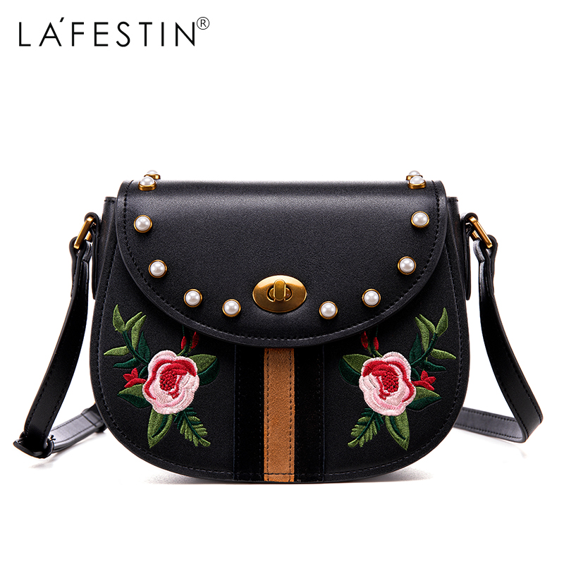 LAFESTIN 2017 Women Crossbody Bag Embroidery Genuine Leather Shoulder Saddle Fashion Women Bag Designer  Luxury Brands bolsa lafestin luxury shoulder women handbag genuine leather bag 2017 fashion designer totes bags brands women bag bolsa female