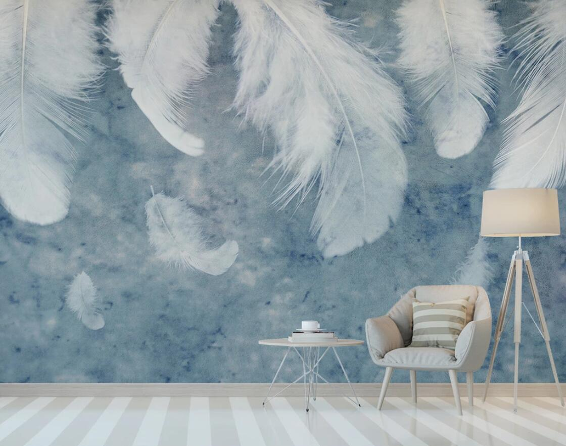 Us 882 51 Offnordic White Feather Wallpaper Mural Blue Watercolor Background Waterproof Canvas Luxury Hd Wall Papers Rolls Home Decor Custom In