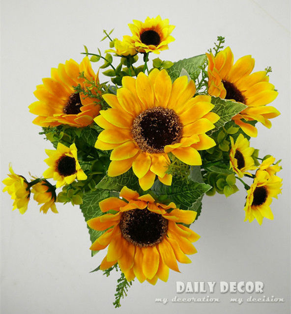 10 Bouquet High Q 7 Forks High Simulation Fake Yellow Sunflower