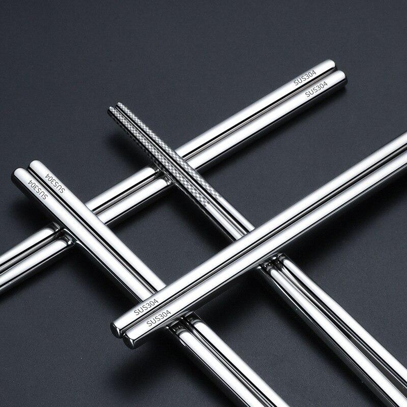 100pair lot food grade top 304 stainless steel tableware chopsticks household metal alloy square chopsticks Custom