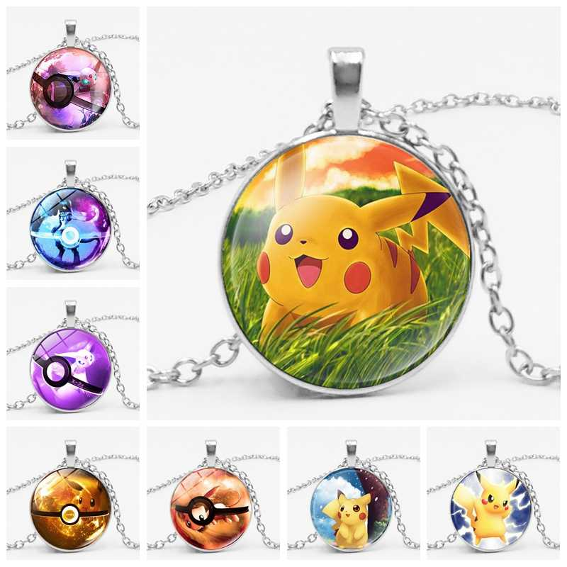2019 Cartoon Anime Game Cute Pikachu Pokemon Charm Glass Convex Round Pendant Necklace Jewelry Children Birthday Gift