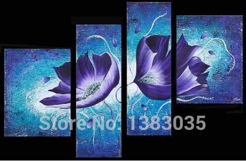 Peint à la main pas encadré fleur peinture à l'huile sur toile abstraite moderne mur Art 4 panneau salon décoration ensemble photo