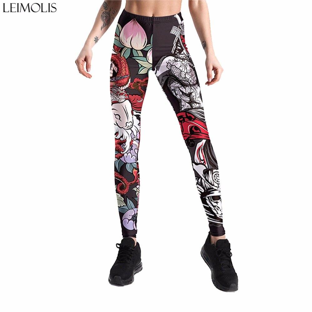 Leimolis 3D Printed Dragon Japan Warrior Harajuku Gothic Sexy Plus Size High Waist Push Up Fitness Workout Leggings Women Pants