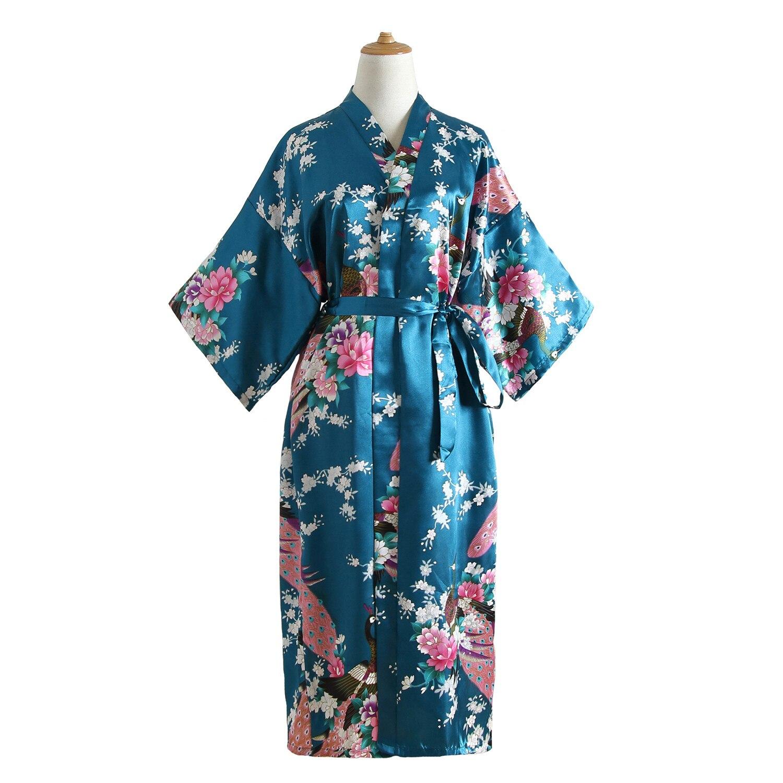 Women Peacock Kimono Bath Gown Sexy Nightwear Bride Wedding Robe Rayon Sleepwear Geisha Nightgown Home Clothes Intimate Lingerie