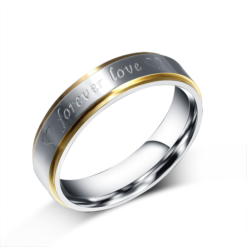 Her or Him Silver-color Forever Love Double Heart Stainless Steel Promise Ring Couple Wedding Engagement Band Jewelry ...