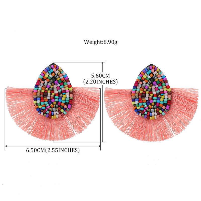 ONEVAN Beads Fashion Bohemian Tassel Crystal Big Earrings Black White Silk Fabric Drop Dangle Tassel Earrings For Women Jewelry