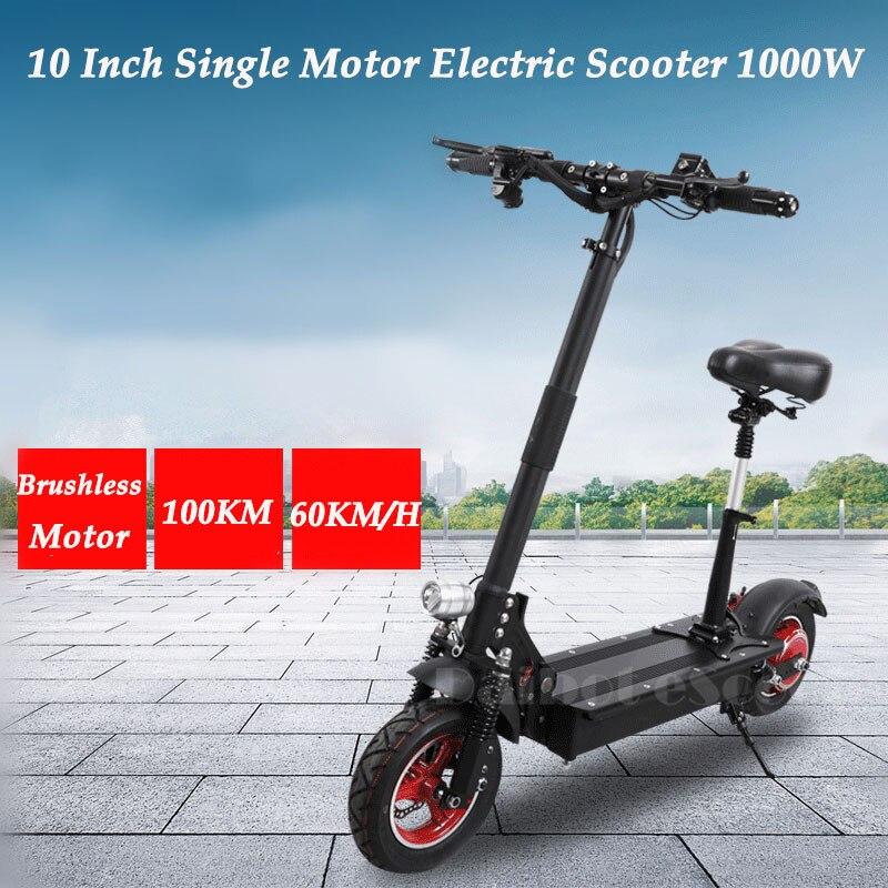 UBGO Faltbare Elektrische Scootor 10 zoll mit 1000 watt Bürstenlosen Motor 48 v Einzigen Treiber Elektrische Fahrrad für erwachsene