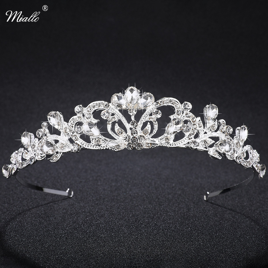 Miallo Wedding Crystal Tiaras Gold Silver Pageant Headband Rhinestone Charms Crown For Women Bridal Hair Accessories Jewelery
