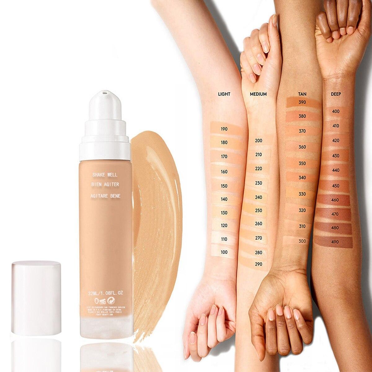 Waterproof Long Wear Soft Matte Foundation Base Makeup Full Coverage 40 Color Face Foundation Liquid Concealer Cream 32ml