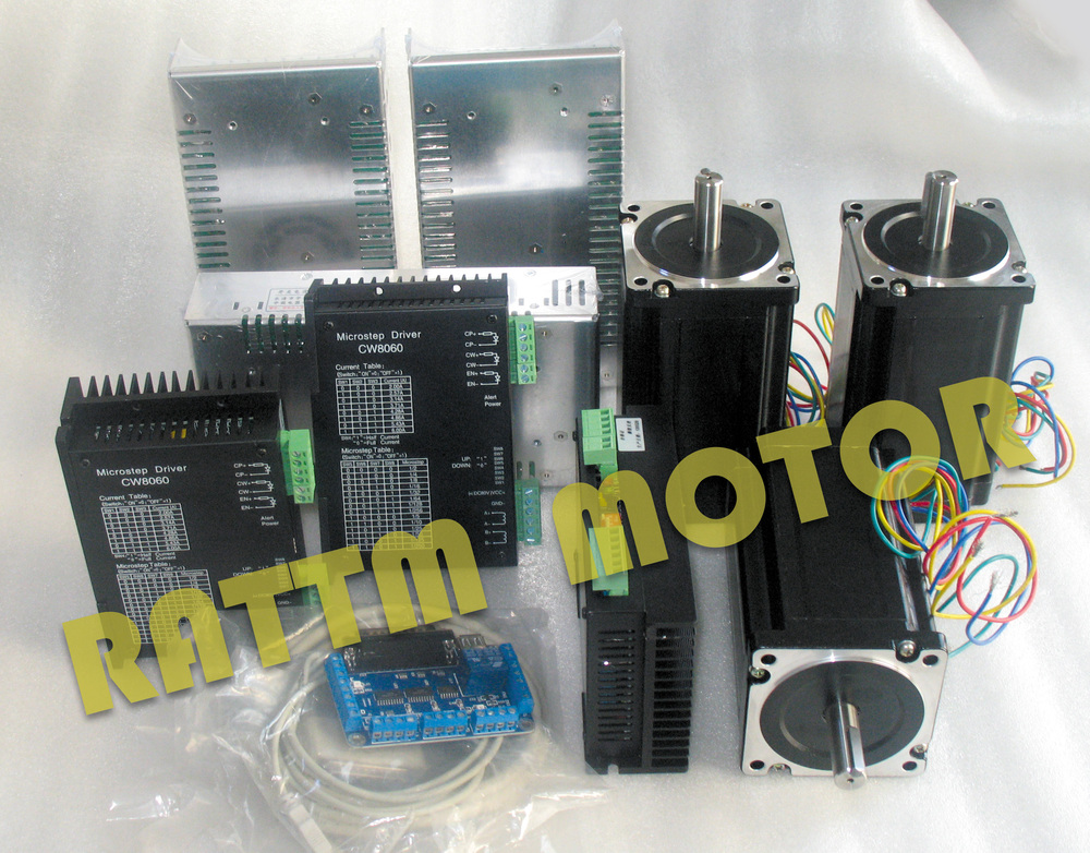 High quality!!3 Axis NEMA34 1600 oz-in torque stepper motor CNC Kit for Large size Router Mill 4 axis cnc kit 8 5nm 1204oz in nema 34 stepper motor