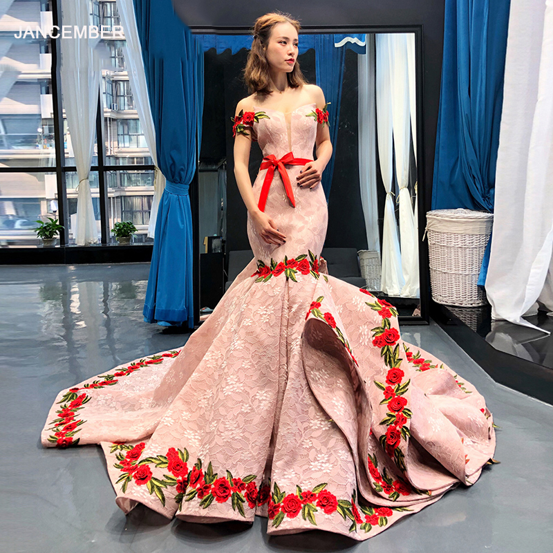 J66737 Jancember Mermaid Evening Dress V-neck Off The Shoulder Floor Length With Train Ladies Party Dress Vestido De Soiree 2019