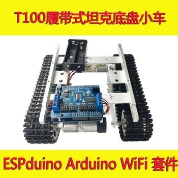 Arduino-chasis de tanque WiFi T100 Crawler de ESPduino, Kit de desarrollo controlado por aplicación Android iOS iphone