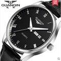 2016 GUANQIN Men Watch Mechanical Watches Analog Quartz GUANQIN Watch 30 m Waterproof Watches Men relogio Stainless Steel Clock
