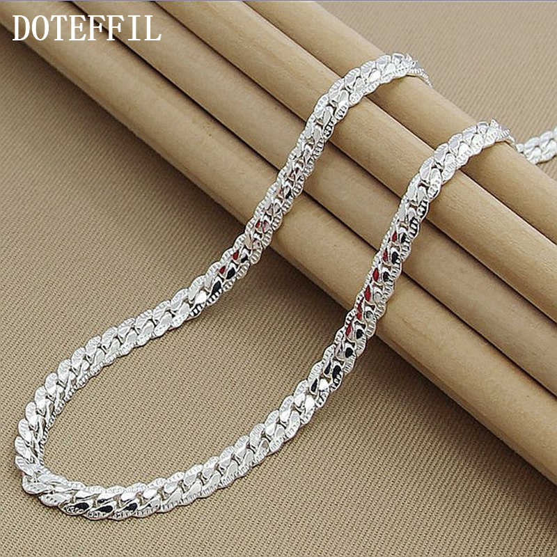 New Arrivals Women 6MM Full Sideways 925 Silver Necklace 925 Silver Color Fashion Jewelry Women Men Link Chain Necklace Lady Gif
