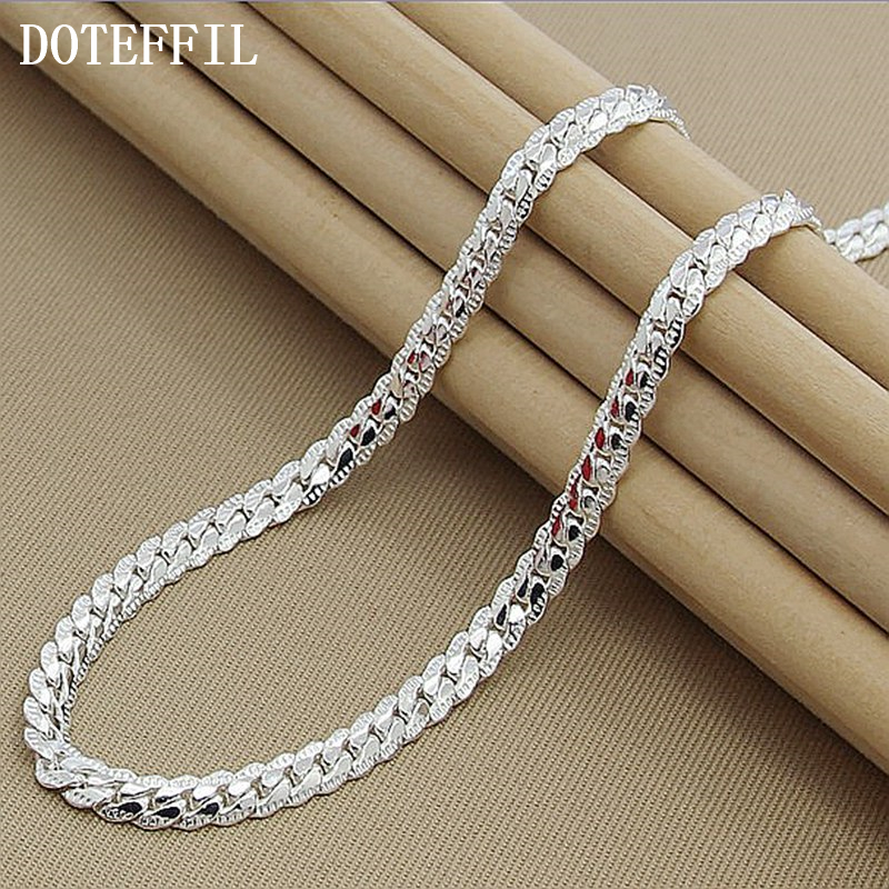 Nya Ankomster Kvinnor 6MM Full Sideways Silver Halsband 925 Sterling Silver Fashion Smycken Kvinnor Men Link Chain Necklace