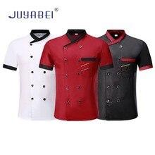 Unisex Oblique Collar Double Breasted Short Sleeve Stitching Chef Uniform Restaurant Hotel Kitchen Work Jacket Free Scarf Gift