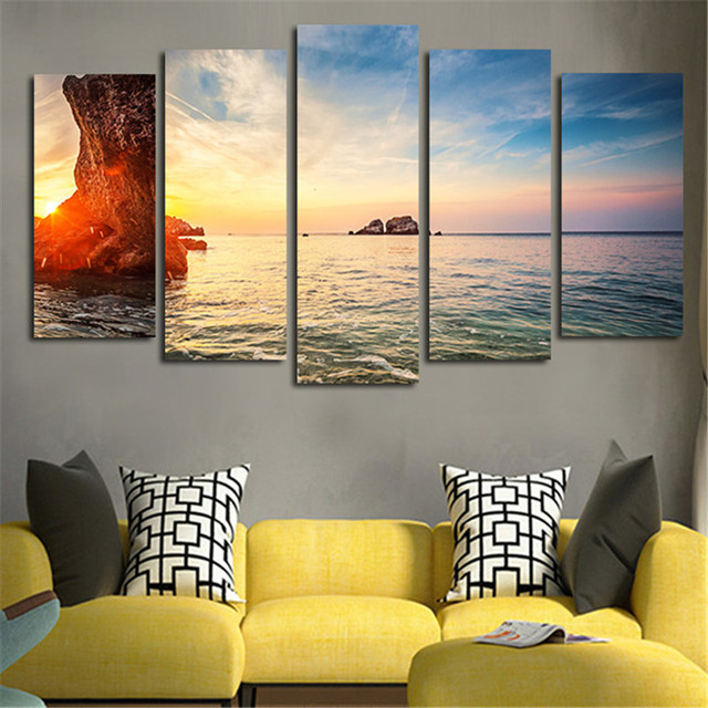 5 Pieces Modern Wall Art Canvas Printed Paintings Decorative Sunrise ...