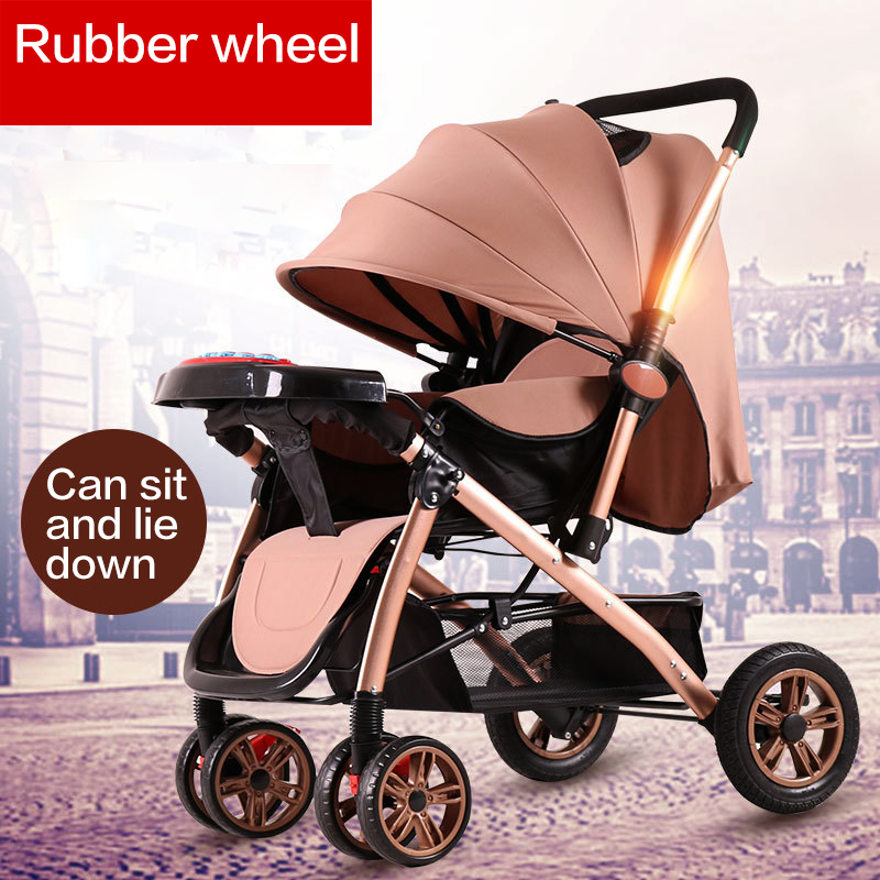 High Landscape Stroller Can Sit Reclining Folding Shock Absorber Light Twoway Stroller Cochecito Bebe 3 En 1 Four Wheel StroolerHigh Landscape Stroller Can Sit Reclining Folding Shock Absorber Light Twoway Stroller Cochecito Bebe 3 En 1 Four Wheel Strooler