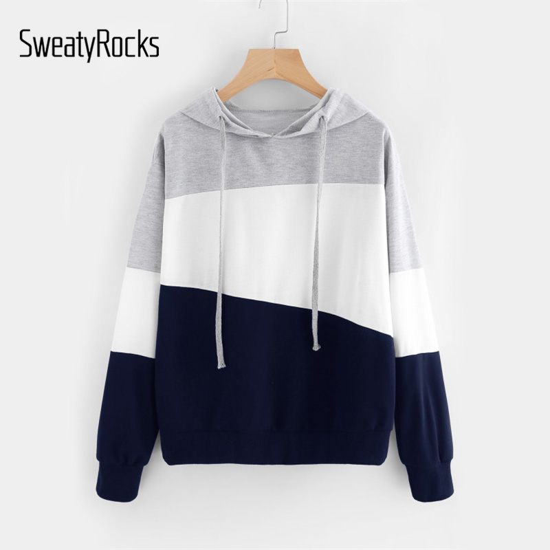 SweatyRocks Cut And Sew Patchwork Hoodie Women Color Block Long Sleeve Exercise Pullovers Sweatshirts  Casual School Sweatshirts
