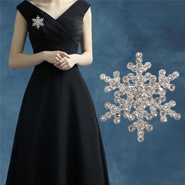 New Silver Pearl Fiocco di Neve Diamante Spilla di Strass di Cristallo Spilla Pin Regalo