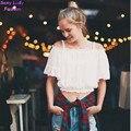 Colmenas atractivas elástico de la raya vertical cuello 2016 nuevas mujeres del hombro Hollow Out manga corta Short T-shirt camisa corta color blanco beige