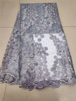Hot sales gray African Tulle Lace Fabrics With Stones Embroidery African French Lace High Quality With Beads FFHD7-5