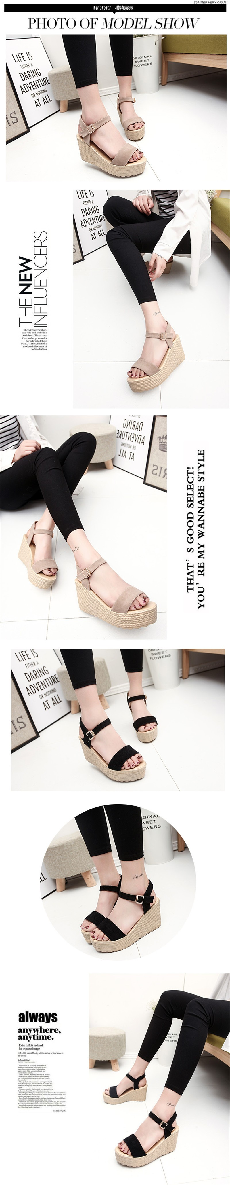 2016 new summer women wedges sandals Thick Soled Shoes Solid 4 colors open toe Women Ladies Sandals HSD06 (1)
